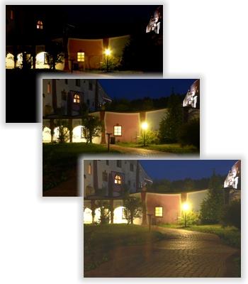 Dunkelheit als eine Anwendung: Drei Fotos mit bis zu Langzeit-Belichtung (Fenster bis Dunkelheit)