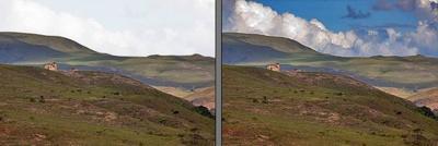 Schwer zu erfassen: Zeichnung im Himmel und dunklere Landschaft gleichzeitig (Traumflieger)