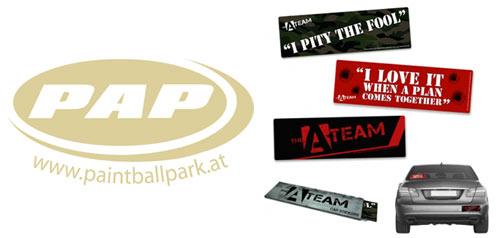 PAP Paintball Gutschein und Auto Sticker