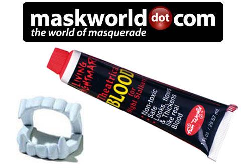 Vampirzähne Classic & Filmblut make up set von maskworld.com