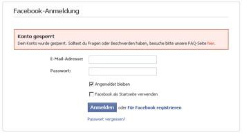 Die Fehlermeldung beim Facebook-Login - ohne Vorwarnung und Grund...